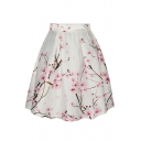 Peach Blossom Print High Waist A-Line Skirt
