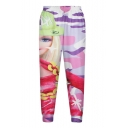 Multi Color Girl Cartoon Expression Print Pants