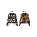 Colorful Print Stand Collar Long Sleeve PU Coat