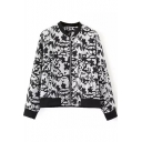 Abstract Print Stand Collar Long Sleeve Coat