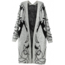 Gray Beauty Pattern Long Sleeve Tunic Cardigan