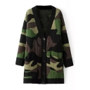 Camouflage Print V-Neck Single Breast Tunic Cardigan