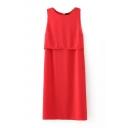 Plain Round Neck Sleeveless Button Back Dress