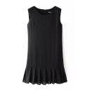 Black Round Neck Sleeveless Pleated Hem Dress