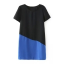 Color Block Round Collar Short Sleeve Shift Dress