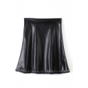 Black High Waist Zipper Fly PU Skirt