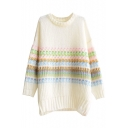 Long Sleeve Mohair Stripe Jacquard Round Neck Sweater