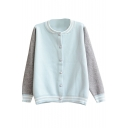 Color Block Round Collar Pearl Button Long Sleeve Knit Cardigan