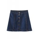 Navy Button High Waist Denim A-Line Skirt