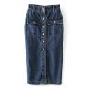 Plain High Waist Button Pockets Denim Pencil Maxi Skirt