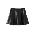 PU Plain High Waist Zip Side A-Line Mini Skirt