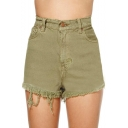 Plain High Waist Zip Fly Tassel Hem Shorts