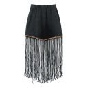 Black Elastic High Waist Tassel Hem Skirt