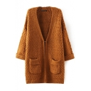 Plain Open Knit Hidden Buttons Long Sleeve Cardigan