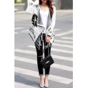 Geometric Patter Waterfall Collar Tassel Trim Cardigan