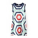 Abstract Geometric Print Sleeveless Round Neck Dress