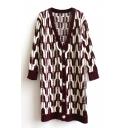 Geometric Pattern V-Neck Single-Breasted Long Sleeve Tunic Cardigan