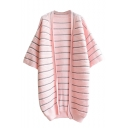 Stripe Open Front Batwing 3/4 Length Sleeve Tunic Cardigan