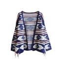 Geometric Pattern V-Neck Open Front Long Sleeve Tassel Slit Side Cardigan