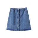 Plain Button Double Pocket Denim Mini A-Line Skirt