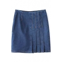 Plain Pleated High Waist Zip Side Button Detail Denim Wrap Mini Skirt