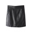 Plain High Waist Zip Back PU Mini Wrap Skirt
