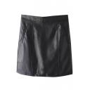 Plain High Waist Zip Back PU Mini Wrap Skirt