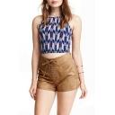 Plain High Waist String Hotpant Shorts