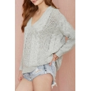 Gray V-Neck Raglan Long Sleeve Knitted Sweater