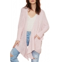 Pink Long Sleeve Double Pocket Asymmetrical Hem Cardigan