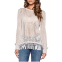 White Sheer Long Sleeve Tassel Hem Sweater