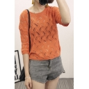 Plain Cutout Round Neck Half Sleeve Knitted Sweater
