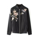 Black Embroidered Floral Stand Collar Jacket