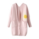 Pink Cartoon Character Jacquard Double Pocket Cardigan