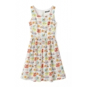 Multi Color Sleeveless Round Neck Cartoon Print Dress