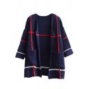Colorblock Stripe Double Pocket Open Front Long Sleeve Knit Cardigan