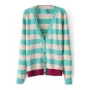 Color Block Striped Long Sleeve Single-Breasted Knitted Cardigan