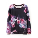 Black Long Sleeve Purple Floral Print Zipper Sweatshirt