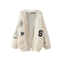 Long Sleeve Open Front Cartoon Panel Cardigan