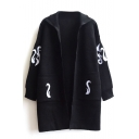 Embroidery Lapel Double Pocket Long Sleeve Knit Cardigan