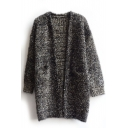 Heathered V-Neck Open Front Long Sleeve Woolen Tunic Cardigan
