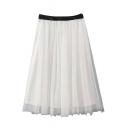 Plain PU Waist Tulle Bubble Mini Skirt