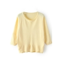 Plain Round Collar 3/4 Length Sleeve Slit Knit Sweater