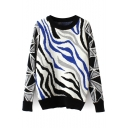 Zebra Print Long Sleeve Fitted Sweater