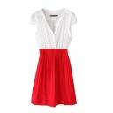 Color Block V-Neck Cap Sleeve Pleated Dress