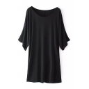 Black Boat Neck Batwing Shift Dress