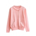 Plain Round Neck Zip Front Double Pocket Long Sleeve Knit Cardigan