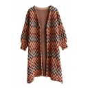 Geometric Pattern Open Front Long Sleeve Tunic Cardigan