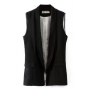 Plain Lapel Double Pocket Sleeveless Vest