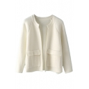 White Collarless Raglan Sleeve Open Front Cardigan